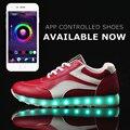 APP управления LED обувь мужчины световой light up tenis led мужская горячие моды отдыха повседневная обувь мужской плоские суперзвезда обувь