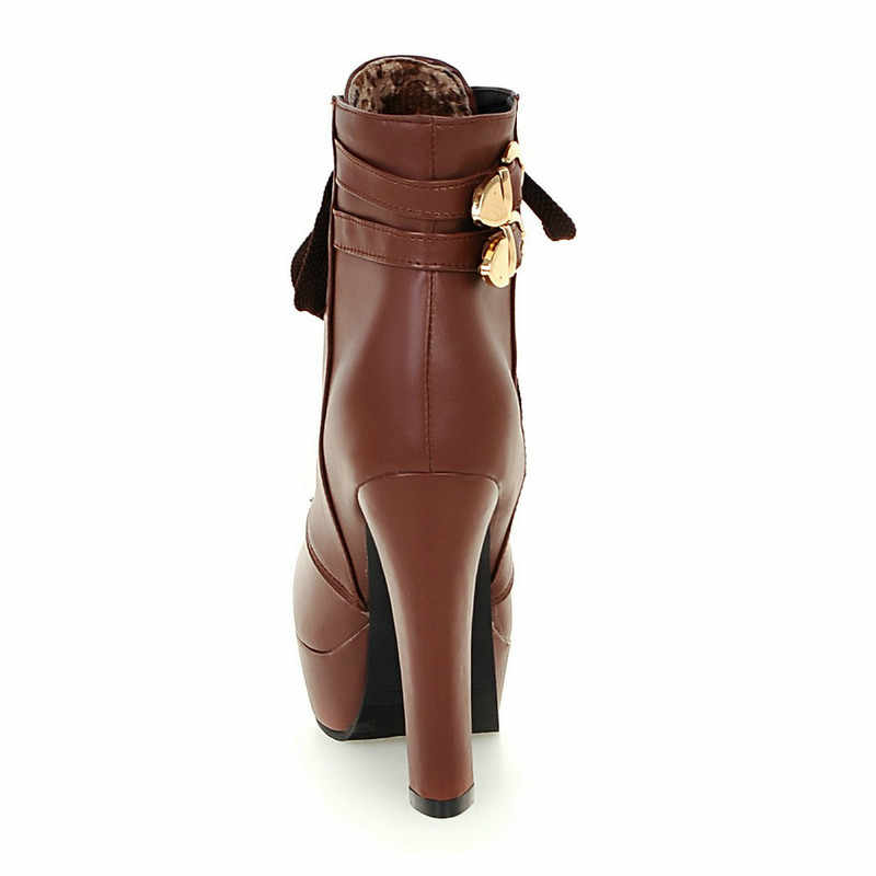 Kadın Kış Platform Kare Yüksek Topuk yarım çizmeler Kadın Moda Dantel Up Yuvarlak Toe Ayakkabı Siyah Sarı Beyaz Kahverengi