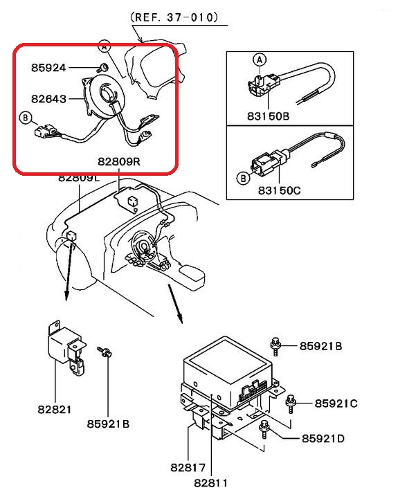 diagram genuine factory oem part spiral cable clock spring airbag for      on mitsubishi eclipse