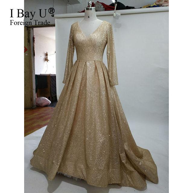 Online Shop Glitter Lace Fabric Shiny Evening Dresses 2017 New ...