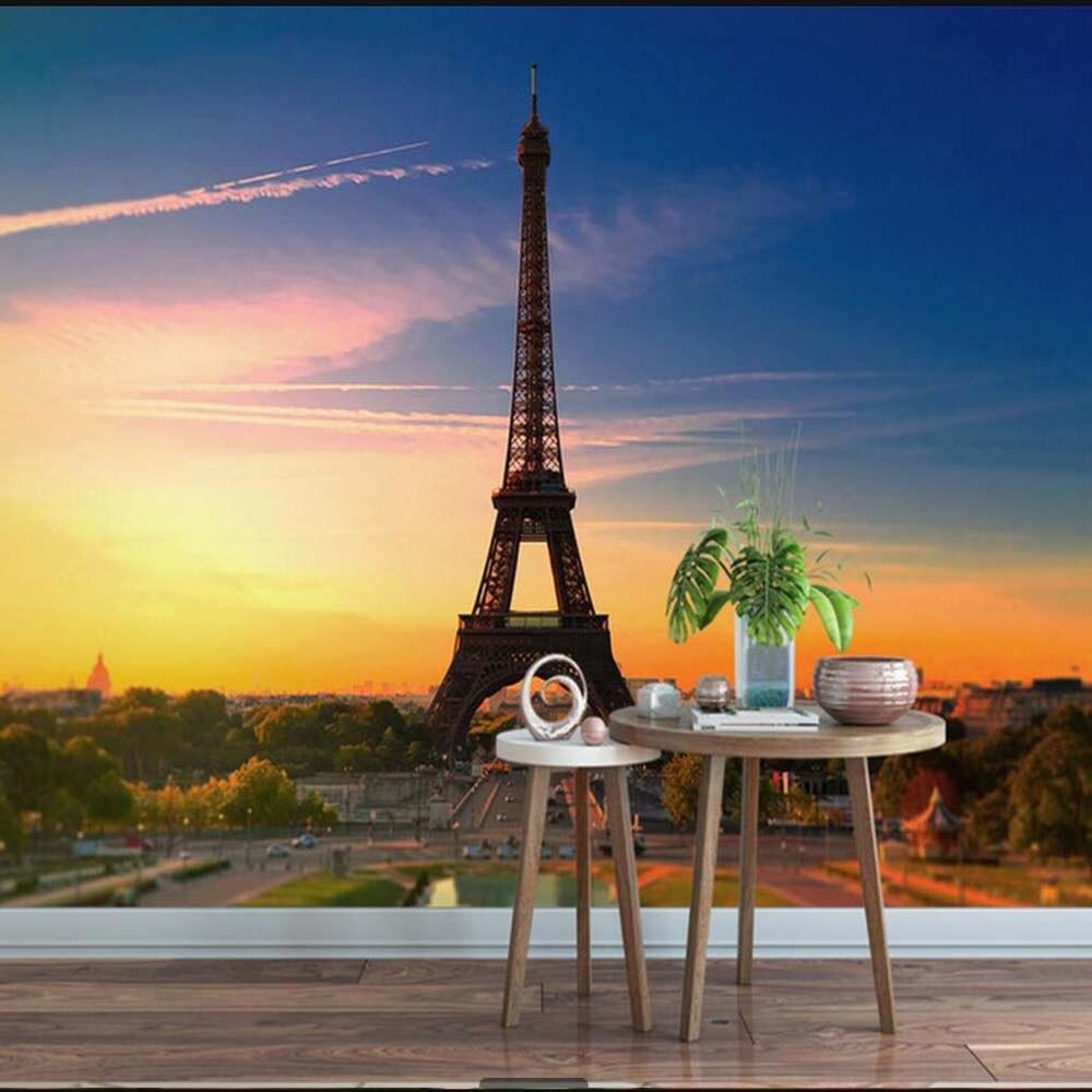 Dusk Blue Sky Eiffel Tower Large Mural Wallpaper Living ...  Dusk Blue Sky E...