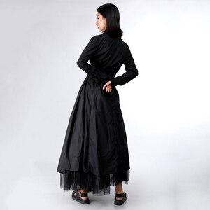 Image 5 - [Eem] 2020 yeni bahar sonbahar yaka uzun kollu düğme bandaj dikiş pileli düzensiz gömlek elbise kadın moda gelgit JY778