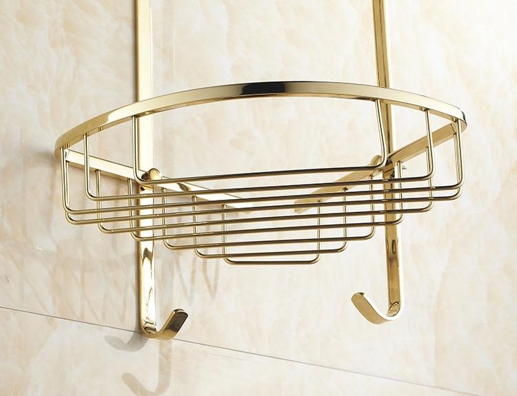 AUSWIND Kupfer zirkon gold farbe doppel dreieck korb badezimmer eckregal 2 stock badezimmer regal bad accessoires - 4