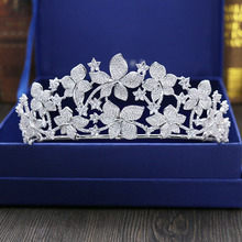 Fashion pop big flowers crystal CZ zircon Princess crown wedding bride dinner banquet Beauty tiaras hair jewelry free shipping