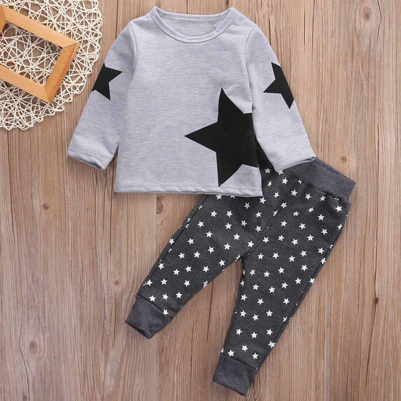 T-shirt Tops Long Pants Outfits Set Cotton Clothing Cute 2PCS Children Kids Baby Boy Girls Clothes Set 2017 cute kids girl clothing set off shoulder lace white t shirt tops denim pant jeans 2pcs children clothes 2 7y