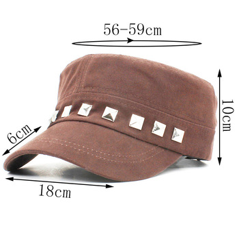 Classic Vintage Women Military Hat Men Fashion Summer Autumn High Quality Warm Rivet Adjustable Flat Top Cap For Adult AD111
