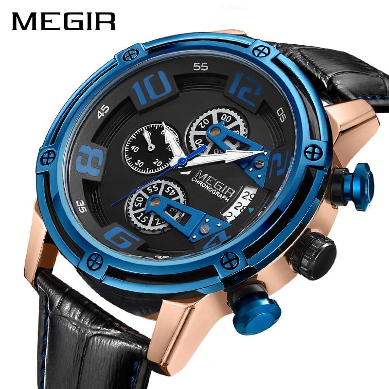 все цены на MEGIR Chronograph Sport Watch Men Leather Strap Creative Quartz Watches Clock Men Military Wristwatch Reloj Hombre Montre Homme