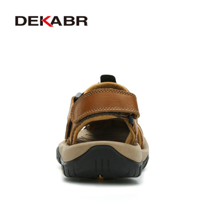 Image 3 - DEKABR Sandalias de piel auténtica para hombre, zapatos informales transpirables, para la playa, para verano, 2020