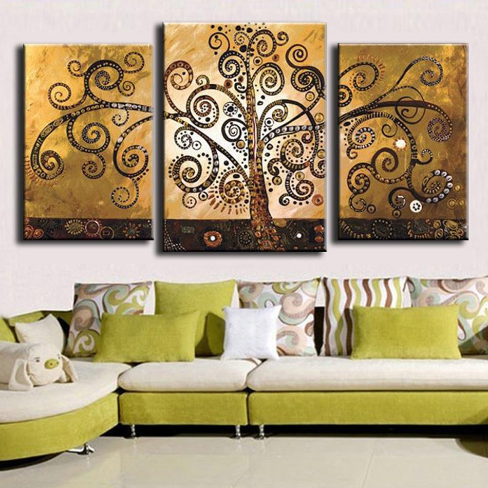 Əl ilə işlənmiş mücərrəd ev dekorasiyası 3 panel pul pulu - Ev dekoru - Fotoqrafiya 4