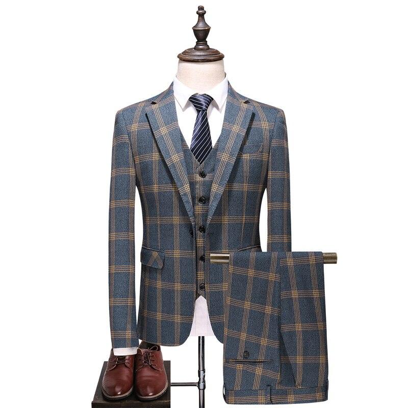 Business Casual Men Plaid Suits Slim Elegant Mens Suit Jacket & Vest & Pants Size S M L XL 2XL 3XL 4XL 5XL