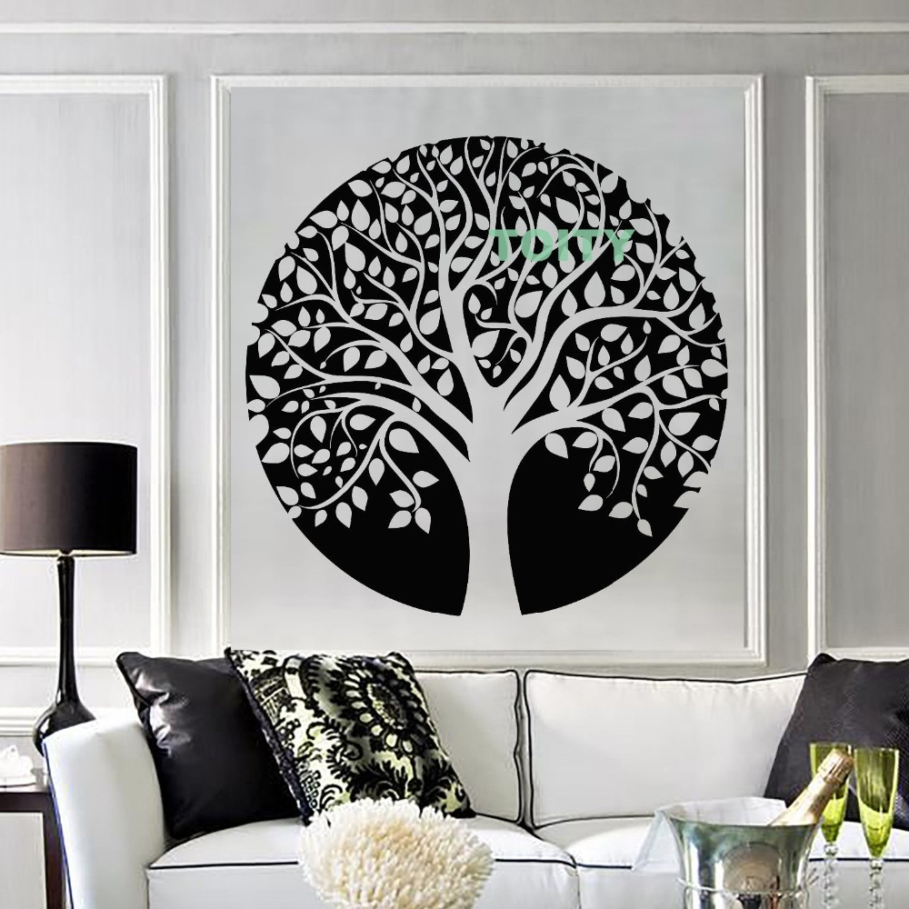 Vie Arbre Motif Sticker Yoga Studio Branche De Tatouage Design