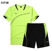 AXFAM Men's Soccer Jerseys Sets survetement football 2017 Short Sleeve Breathable Football Shirt shorts Training suit JUN303