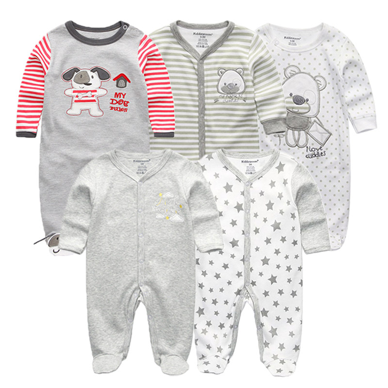 5 PCS/lot newbron 2018 winter long sleeve baby rompers set  baby jumpsuit girls baby girl romper roupa bebe baby boy clothes