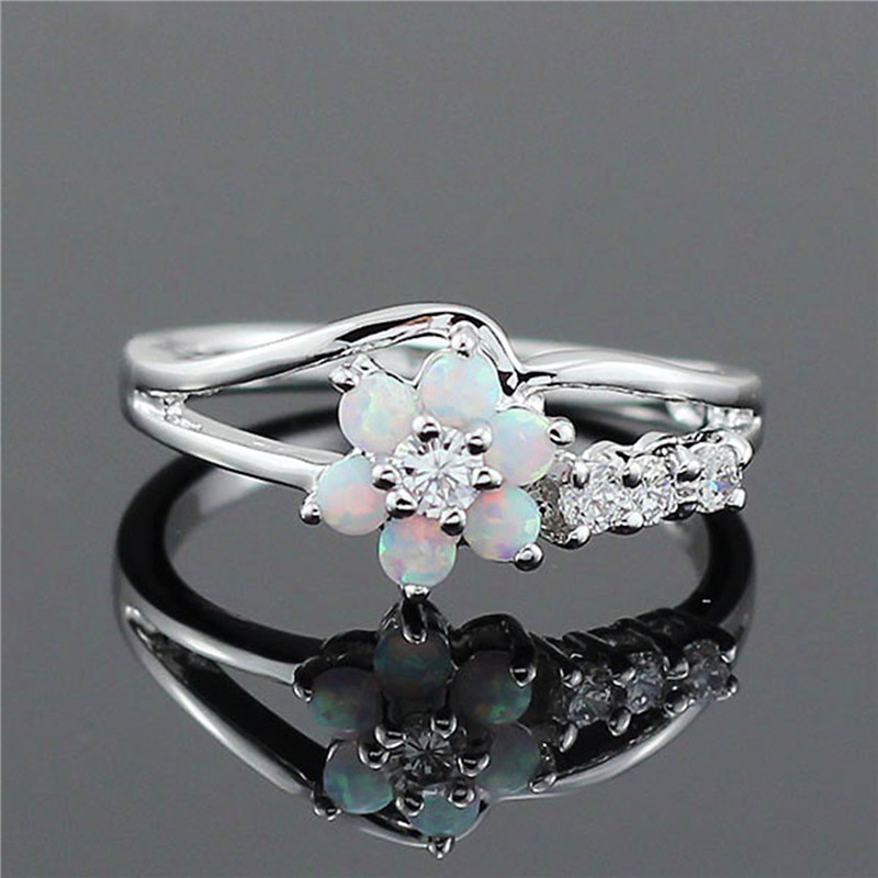 BOAKO White Flower Fire Opal Rings CZ Women Fashion Jewelry Opal Ring for Women Wedding Engagement Jewelry Size 6 7 8 9 10 Z3