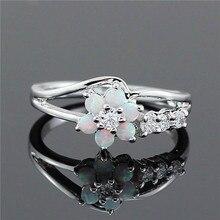 White Flower Fire Opal Ring for Women