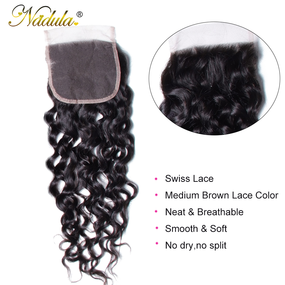 Nadula Hair  Water Wave Closure 8-10inch  Closure 4*4 Swiss Lace Closure Natural Color 3