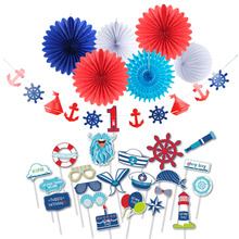 Ahoy Boy Nautical Birthday Party Decoration Kit Photo Booth Props Anchor Sailboat Wheels First Banner for Kids Shower