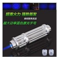 Haute Puissance 5000 mW 450nm Bleu Pointeur Laser Lazer Stylo Lumière Mise Au Point Réglable Allumette Brûlante Avec Batterie Chargeur 5 étoiles Caps