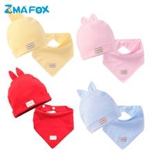 ZMAFOX newborn baby warm beanie hat bibs 2pcs suits infants toddlers combed cotton thick caps kids babies hats burp cloth