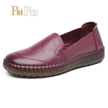 Купить с кэшбэком PEIPAH Handmade Genuine Leather Shoes Women Sneakers Retro Sewing Female Espadrilles Casual Shallow Slip On Flat Shoes Woman