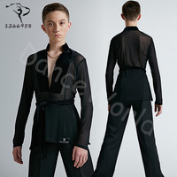 sexy Dance Costume children Latin dance shirt professional performing regular top for boy long sleeve high quality