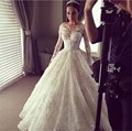 2017 Scoop Sheer Neck Ball Gown Wedding Dresses Illusion Long Sleeves 3D-Floral Appliques Lace Luxury Bridal Gowns Sheer Back
