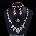 4 Piece Nigerian Women Wedding Costume Jewelry Gold Filled Created CZ Diamond Flower Drop Leaf Big Statement Necklace Set JS173
