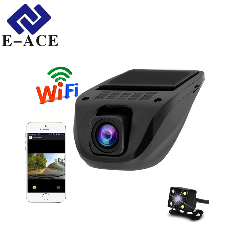E-ACE 2018 Versteckte Auto DVRs Wifi Dash Cam Video Recorder Camcorder Dual Kamera Objektiv Full HD 1080 p Mini Kamera auto Registrator