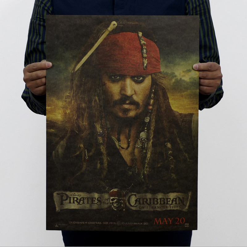 Free shipping,Pirates of the Caribbean 4/jack sparrow/movie/kraft paper/bar poster/Retro Poster/decorative painting 51x35.5cm
