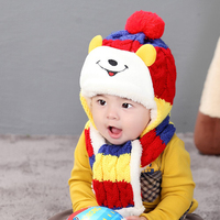 Winter Baby Hat And Scarf Cute Bear Crochet Knitted Caps For Infant Boys Girls Children Kids