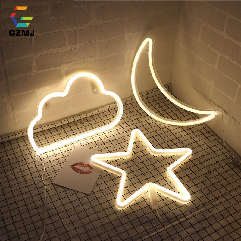 GZMJ Creative LED Night Light Star Cloud Moon Cactus Lips Flamingo Tree Multi-color Table Night Lamp for Party Wedding Kids Gift