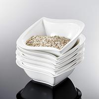 MALACASA Elvira 6 Piece 5.5 inch 12 Ounce White Porcelain China Ceramic Cereal Bowls Soup Fruit Salad Bowls (13.5 * 13.5 * 5cm)