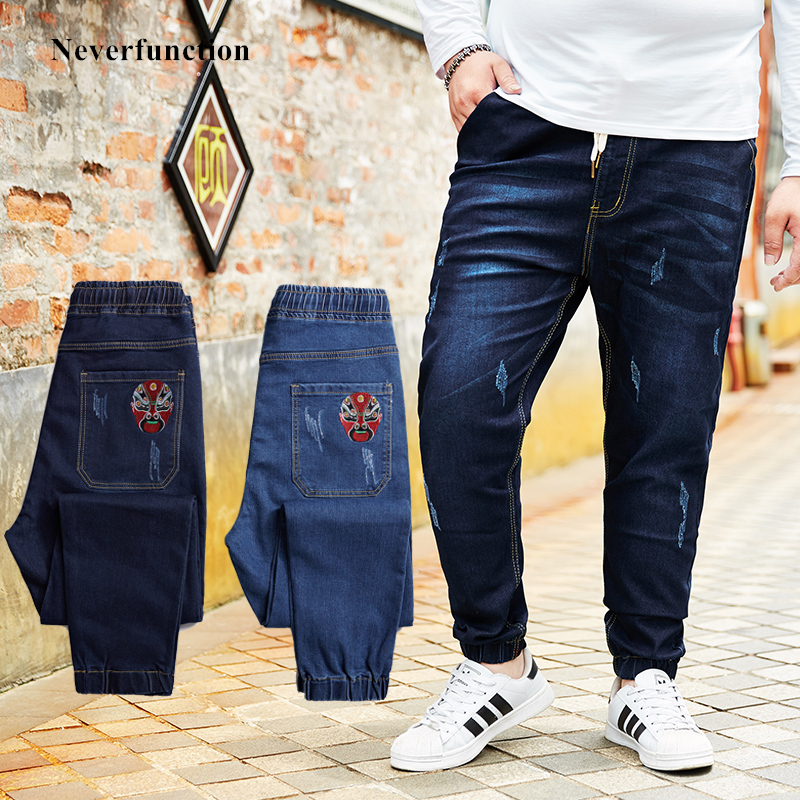2019 Men New Peking Opera Mask embroidered Elastic waist Drawstring   Jeans   fashion male Denim trousers Plus Size 5XL 6XL 7XL 8XL