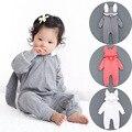 2016 otoño ropa infantil del bebé del mameluco nueva tridimensional del casquillo del oído para subir la ropa de la cremallera de una pieza de ropa