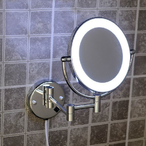 Bath Mirrors Brass Cosmetic Makeup Mirror LED Light of Bathroom Floding Round 2 Face Wall Mirrors 3X-1X Magnifying Mirror 2068B
