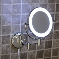 Bath Mirrors Brass Cosmetic Makeup Mirror LED Light of Bathroom Floding Round 2 Face Wall Mirrors 3X 1X Magnifying Mirror 2068B