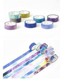 Image 5 - Cintas washi de papel de cielo estrellado, cintas adhesivas de Color 15mm * 7m, marco de scrapbooking, papelería, bricolaje, A6909, 24 unidades por lote
