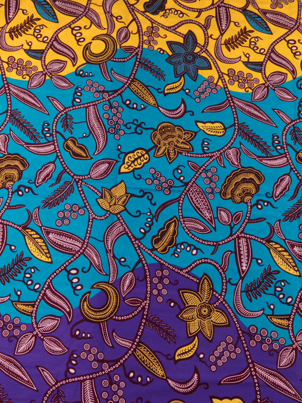 African Batik Fabrics Super Deluxe Wax Blue Yellow Purple