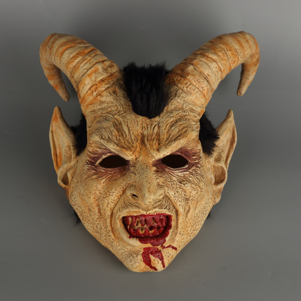 Scary mask demon devil Lucifer Horn latex Masks Halloween movie cosplay decoration Festival Party Supply props Adults Horrible (40)
