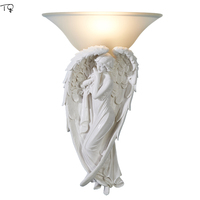 Angel Wings Nordic Resin Wall Lamp Bathroom Bedroom Living Room Lighting Stairs Aisle Background Romantic LED Sconce Wall Lights