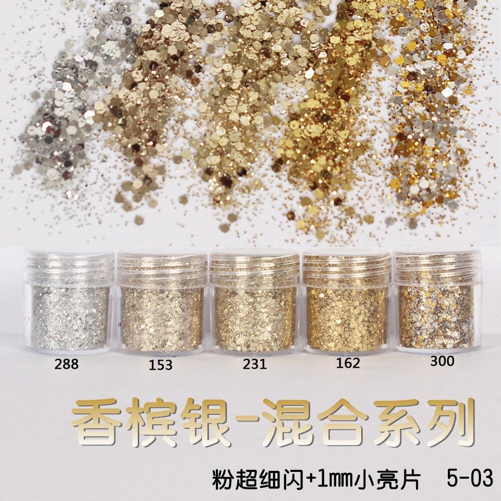 Champagne Silver Sequin Glitter (Large)  Mix Nail Glitter Powder (Fine)  Nail Art Decoration Tips Shiny Nail Art Designs