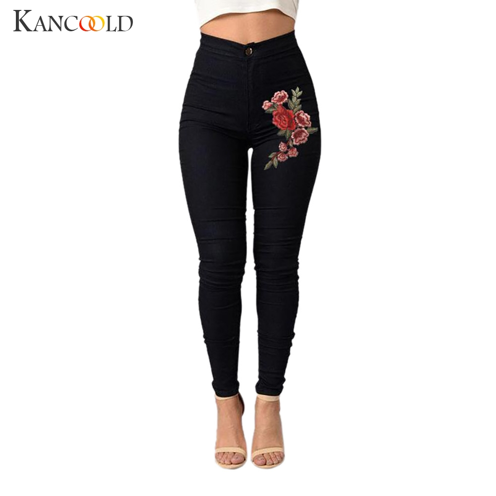 KANCOOLD   jeans   Fashion Sexy Women Skinny Floral Applique   Jeans   High Waist Stretch Pencil Pants Zipper   jeans   woman 2018Oct24
