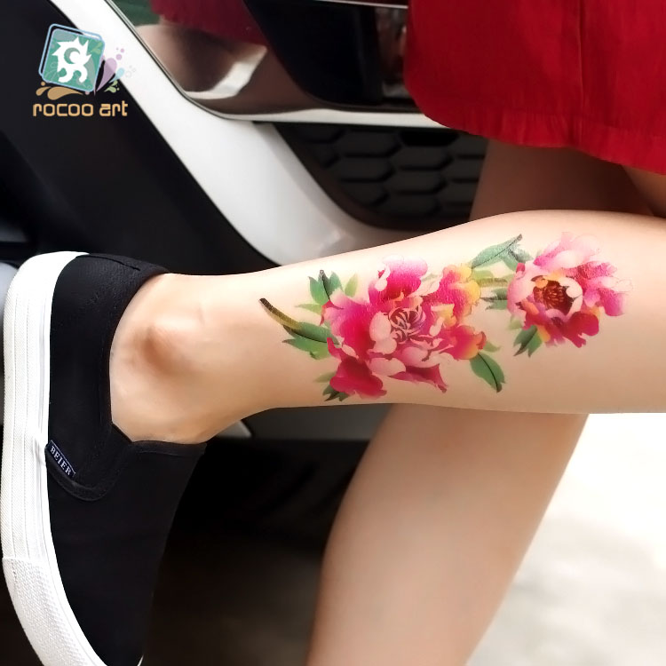 9 Different Big Peony flower tattoo design waterproof women temporary body art tattoo sticker fashion Arms and legs Tatuagem