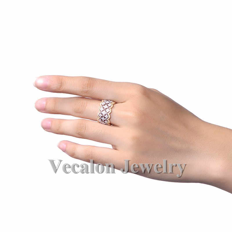 Vecalon Women Jewelry ring Full AAAAA Zircon cz Rose Gold 925 Sterling Silver Engagement wedding Band ring for women