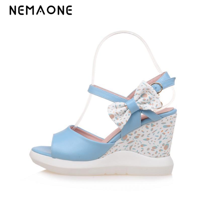 NEMAONE 2017 Summer style Women sandals wedge female sandals high heels platform open toe platform casual shoes nayiduyun summer wedge high heels women casual platform pumps round toe breathable summer sneakers sandals school shoes chic