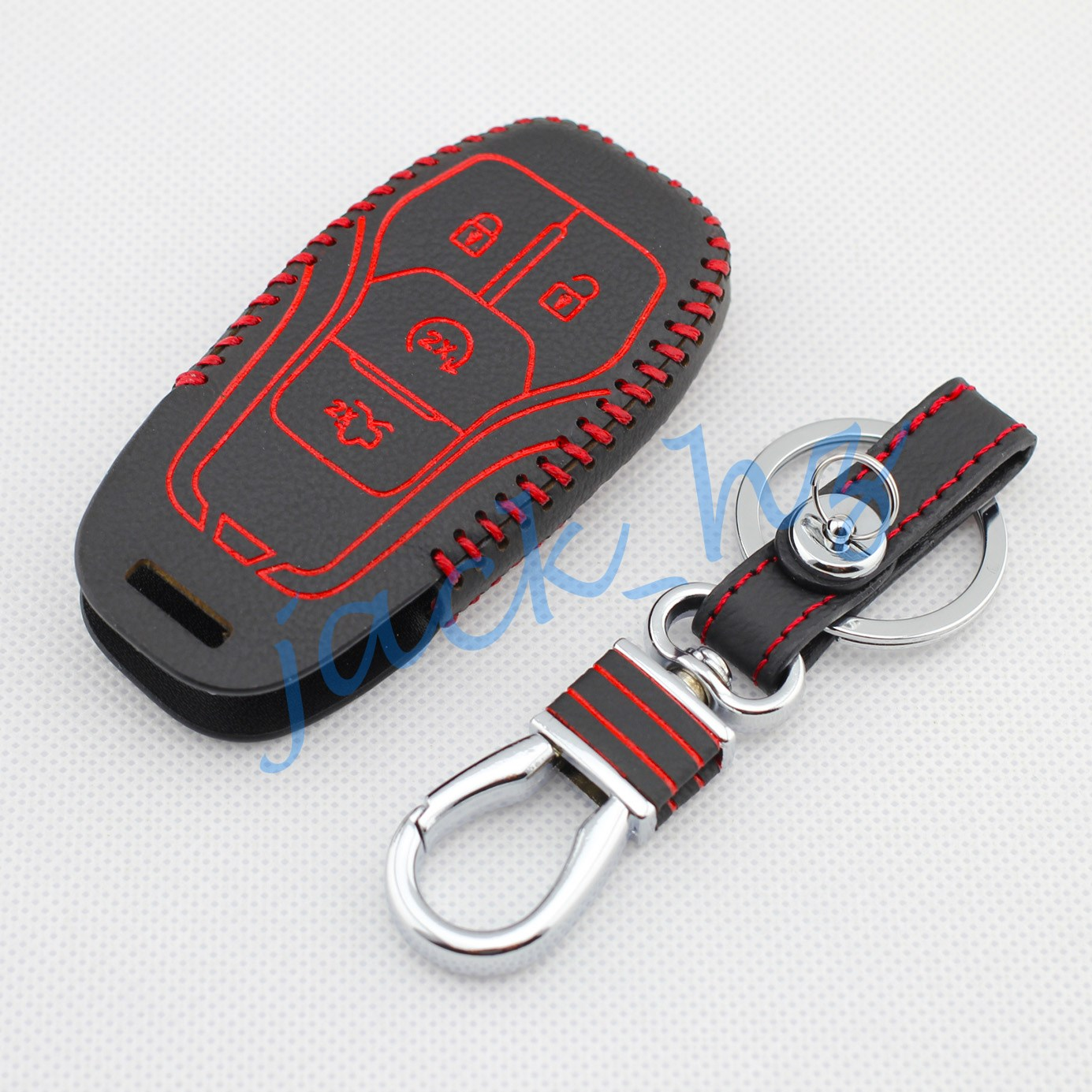 4 buttons leather key case cover for ford taurus explorer 2016 2017 chain ring fob