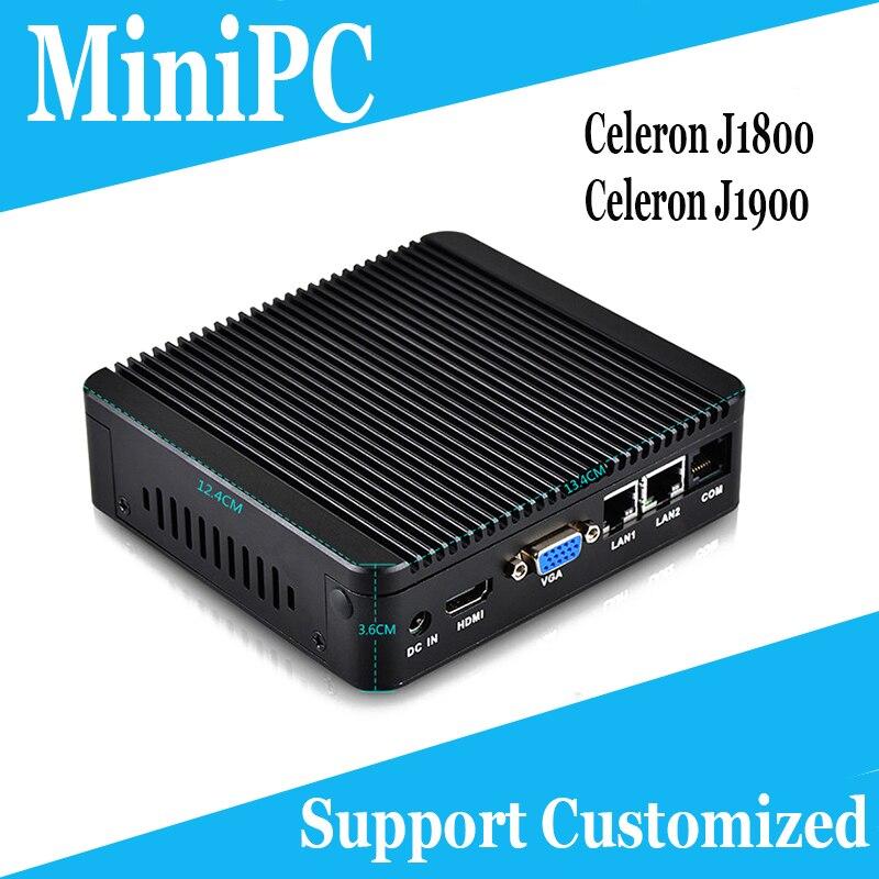 HOT sale Celeron J1900 J1800 Industrial Computer Dual LAN HDMI+VGA firewall apllliance Support Linux/Windows7/10 FANLESS Mini PC