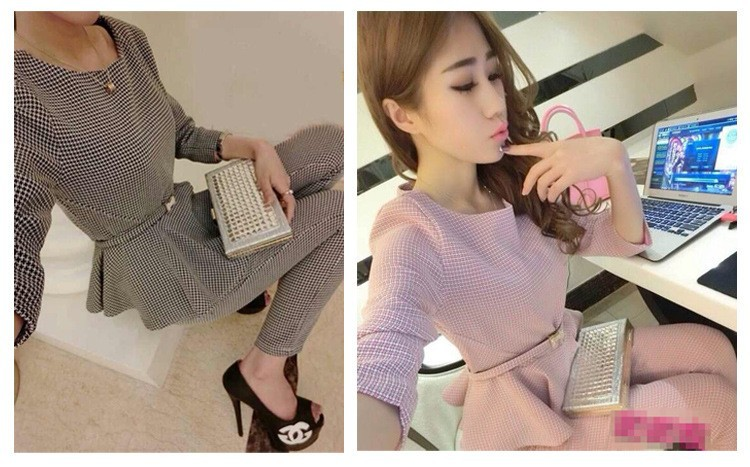 New 19 Spring Autumn Fashion Women's Business Pants Suits Houndstooth Checker Pattern Ruffles Suits For Women 2 Pieces Set 6