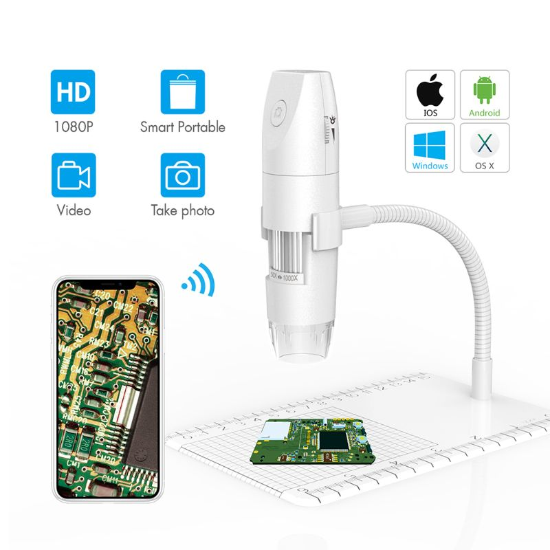 Wireless Digital Microscope With WiFi USB Flexible Arm Observation Stand For IPhone Android PC