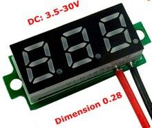 "0.28"" Super Mini Digital Red LED Display Voltmeter DC 3.5-30V 2 Wires Vehicles Motor Voltage Panel Meter Battery Monitor(China (Mainland))"